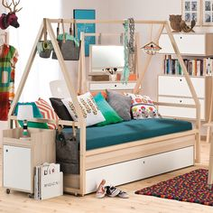 Spot Kids Tipi Bed & Trolley With Trundle Drawer. Who says you need to leave the house to go camping? The fantastic new Spot Tipi Bed & Trolley from Vox is the Bedroom Themes, Kids Bedroom, Estilo Navajo, Unique Kids Beds, Teepee Bed, Canopy Tent, Twin Platform Bed, Lit Simple, Bunk Bed Designs