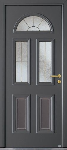 Modèle Harricana Porte d'entrée aluminium classique mi vitrée Moulures relief extérieures et intérieures en soubassement.