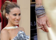 Oscars 2010 - Presenter Sarah Jessica Parker wore a stack of bracelets, 19th century earrings and a 9-carat diamond ring – all from Fred Leighton.