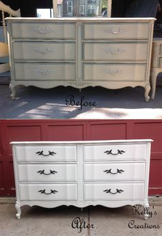 French Provincial dresser painted white with metallic black hardware before and after pictures.  Refinished by Kelly's Creations. https://www.facebook.com/KellysCreationsFurniture