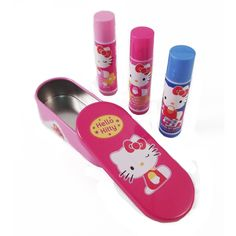 Including 3 lip balm sticks and a cute Hello Kitty tin box, this is a great accessory for Hello Kitty fans or young girls.    The three lip jellies are blueberry, strawberry and cherry flavored. Featuring everyone's favorite Sanrio Kitty, this is a great gift idea, stocking stuffer or party favor for girls!