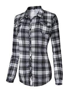 c12b9c3b6f3a Damen Karierte Blusen Langarmhemd Karierte Bluse Plaid Shirt (L,  5) Karierte  Bluse