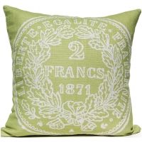 French Coin - Green Pillow