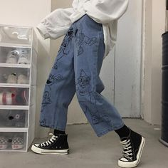 Sesame street cartoon printed blue loose straight jeans - no - Aesthetic Fashion, Aesthetic Clothes, Look Fashion, 90s Fashion, Korean Fashion, Fashion Outfits, Aesthetic Women, Angel Aesthetic, Red Aesthetic