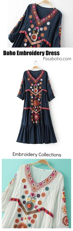 $55 ( Free Shipping Worldwide ) - Boho Embroidery Dress is Available at Pasaboho