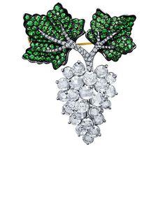 Rose-Cut Diamond Grape Leaf Brooch