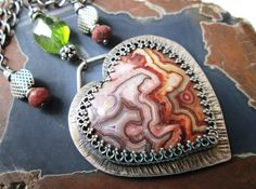Crazy Lace Agate Heart Necklace in Sterling by TheRedPoppyShop…gorgeous!!!