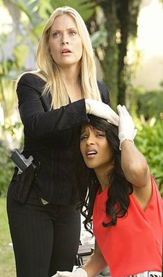 Emily Procter and Megalyn Echikunwoke in CSI Miami