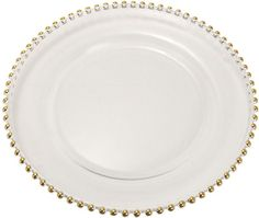 "13"" New Traditional glass charger plate, silver finish round glass plate with gold beaded rim Features: - Color: Silver, Gold - Finish: Smooth Glass - Theme: New Traditional - Shipping Weight: 4.68 lb"