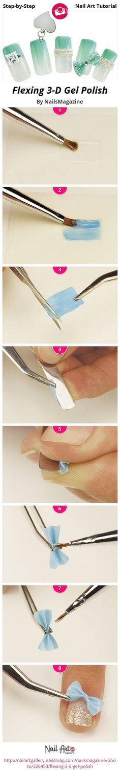 How to create a Bow - Flexing 3-D Gel Polish Tutorial by NailsMagazine - Nail Art Infographic Step-by-Step...x