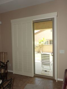 Shutters Faux White Traditional Living Room Sliding Door