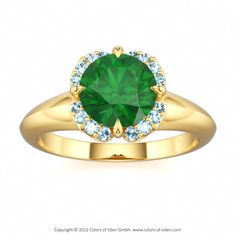 Colors of Eden | Romantic Floral Engagement Ring MORNING STAR | Customize Your Jewelry #emerald #ring