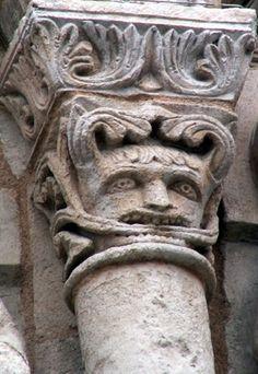 §§§ : The Green Man of Notre Dame la Grande, Politiers : century Statues, Romanesque Sculpture, Medieval, Man Faces, Symbolic Art, Contemporary Artwork, Green Man, Interesting Faces, Ancient Art