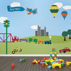 Transportation Theme Kids Wall Mural Stencils - Nursery Mural - Transportation Theme Boys Room Painting and Decorating
