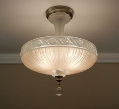 Vintage 1940s Pleated Pressed Satin Glass Antique Ceiling Light Lamp Fixture Rewired via Etsy