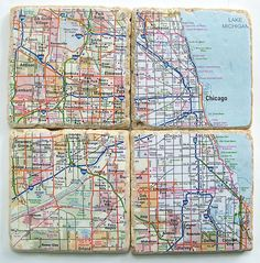 Chicago Map Coasters by CarolinaCottage on Etsy https://www.etsy.com/listing/77520815/chicago-map-coasters