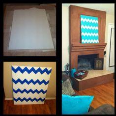 Wood + paint + blue painters tape= Stylish chevron wall decor!!
