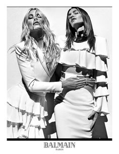 Balmain S/S 16 Claudia Schiffer (left) and Cindy Crawford (right).