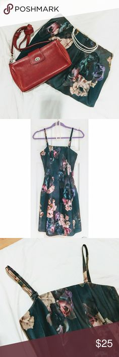 """Floral Print Flared Dress Worn only a couple of times  Corset-esque wire structure from chest to waist, and flared skirt for the rest. The hem comes down to about 2"""" above my knees. (I'm 5'6"""")  Unlined but the material is opaque and not see-through.   This is one of the high-end products by H&M in terms of the price point and the materials.   Wear it on its own, or layer it with a crop top sweater! Throw on a pair of colored tights too if you'd like. I have a few pairs of cute colored tights…"""