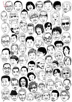 Face Illustration, Portrait Illustration, Pattern Illustration, Character Illustration, Graphic Design Illustration, Drawing Cartoon Faces, Cartoon Art Styles, Character Drawing, Character Design