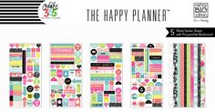 Stickers made of washi tape material? Really? Oh yeah!  Each package includes:   5 sheets of washi stickers on a pre-punched backer card…making it easy to add to your Happy Planner™.   Item #: PPW-06