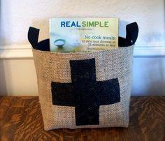 Swiss Cross coffee sack basket
