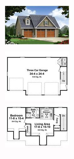 Garage Apartment Plan 59948 | Total Living Area: 644 sq. ft., 1 bedroom and 1 bathroom. The first floor garage plan has plenty of space including a first floor laundry room! The private second floor includes a large bedroom with a living area.  #carriagehouse