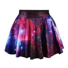 *free ship* pink galaxy print pleated mini skater skirt 1850121160 ❤ liked on Polyvore featuring skirts, mini skirts, flared mini skirt, circle skirts, purple skater skirt and pink pleated skirt