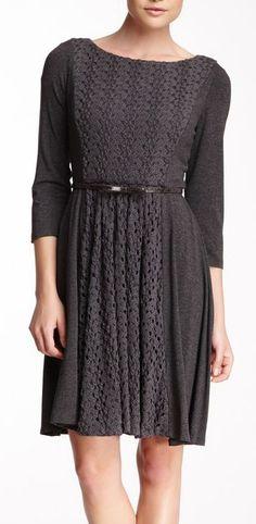Suzi Chin Lace Inset Pleated Skirt Dress
