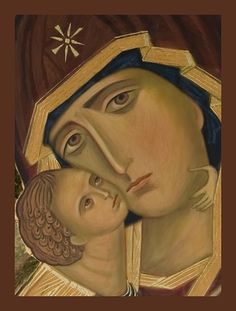 Tenderness icon with border Mother And Child Painting, Religious Paintings, Russian Icons, Madonna And Child, Blessed Virgin Mary, Religious Icons, Orthodox Icons, Christian Art, Our Lady