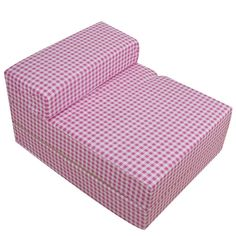 pink white gingham check foam fold out sleep over guest single z futon sofa bed  hom  single sofa bed armchair soft floor sleeper lounger futon