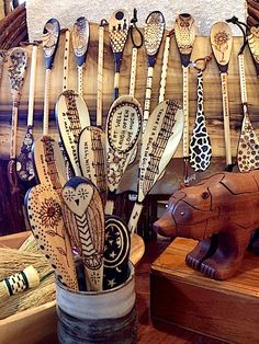 We love our new wood pyrography spoons by Teri Paulk! They're all food safe…