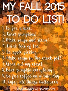 My Fall 2015 To Do List
