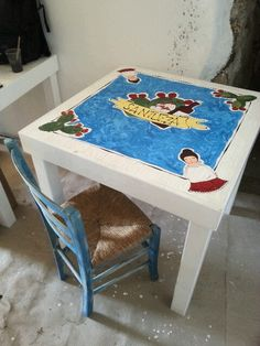 """Acrilico su legno Tavolo """"Santuzza"""""""