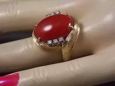 1970s Red Coral and Diamond Ring 7.24Ctw by estatejewelryshop