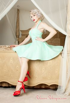 Mint Vintage Style Halter Dress /Rockabilly/Pin Up/50s