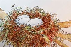 Original Watercolor Painting of Birds Nest with by RoseAnnHayes, $20.00