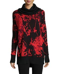 Ahiga Cowl-Neck Floral Daze Pullover Sweater, Red/Black by Diane von Furstenberg at Bergdorf Goodman.