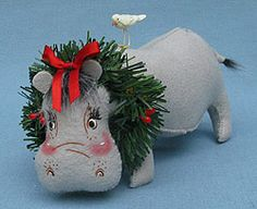 "Annalee 8"" Holiday Hippo - Mint - 751710"