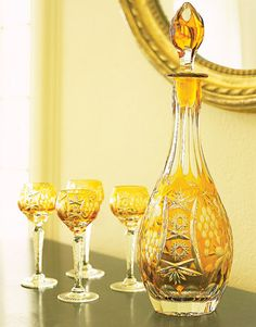 Amber crystal glasses and decanter Crystal Wine Glasses, Crystal Glassware, Cut Glass, Glass Art, Carafe, Liquor Glasses, Yellow Cottage, Amber Glass, Amber Crystal