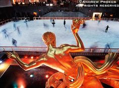 Rockefeller Center Ice Skaters with Prometheus Statue - http://andrewprokos.com