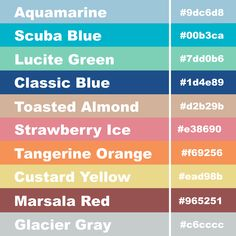 Girly Business Cards: Hex Code Pantone Color Palette For Spring 2015: Aquamarine, Scuba Blue, Lucite Green, Classic Blue, Toasted Almond, Strawberry Ice, Tangerine Orange, Custard Yellow, Marsala Red, and Glacier Gray. #colortrends #colorpalette #colorpallet