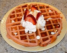 Strawberry Shortcake protein Waffle- kick all the junk she put on and in it Protein Waffles, Sugar Free Gum, Waffle Iron, Waffle Recipes, Meal Prep, Food Prep, Strawberry Shortcake, Main Meals, Breakfast Recipes