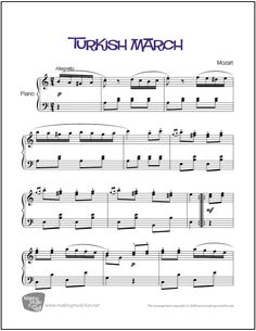 Turkish March (Mozart) | Sheet Music for Piano (Digital Print) http://makingmusicfun.net/htm/f_printit_free_printable_sheet_music/turkish-march-piano-solo.htm