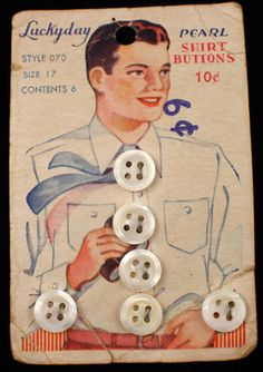 ButtonArtMuseum.com - Antique Pearl MOP Buttons on Original Color Graphic Store Card Man Binoculars