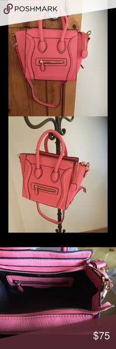Celine fashion purse Soooooooo adorable in this pinky coral color!!! Grab it while you can! 😉💞 this comes with the cross body strap and is in excellent unused condition, faux leather is so soft😊 Bags Totes