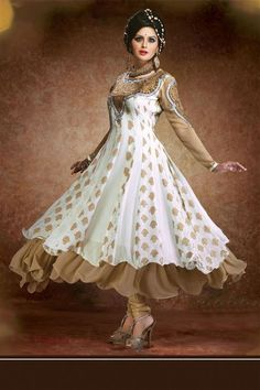 Spellbinding Fawn ,White Georgette Resham Embroidered Ankle Length Anarkali Suit