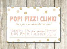 Pop! Fizz! Clink! - New Year's Invitation - by FreshlyPressedPrints