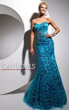 Strapless printed charmeuse prom dress with tulle overlay from Tony Bowls Le Gala