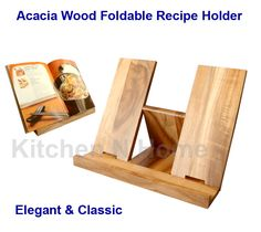 Wooden Recipe Book Holder Cookbook Stand Solid Acacia Wood Foldable Large | eBay